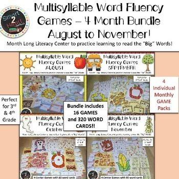 Multisyllabic Center Games for Word Fluency - August to November Bundle