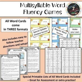 Multisyllable Word Fluency Games - YEAR LONG Center GROWING BUNDLE