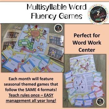 Multisyllabic Center Games for Word Fluency - YEAR LONG Center GROWING BUNDLE