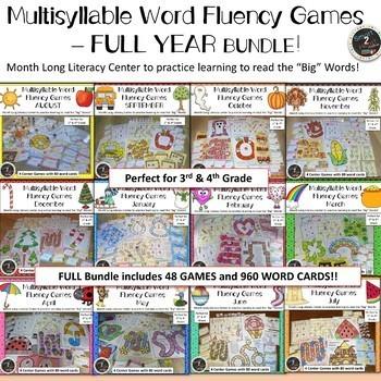 Multisyllabic Word Fluency Center Games All Year BUNDLE