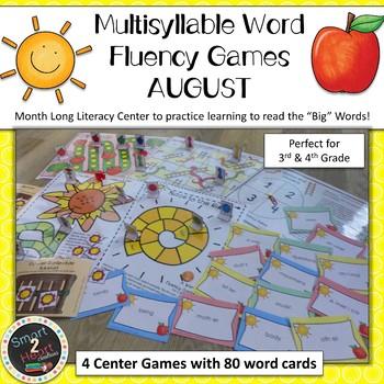AUGUST Multisyllabic Games Word Fluency Literacy Center Big Words Pack