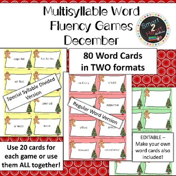 Multisyllable Word Fluency Literacy Center Game Pack - December