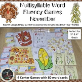 NOVEMBER Multisyllabic Games Word Fluency Literacy Center Big Words Pack