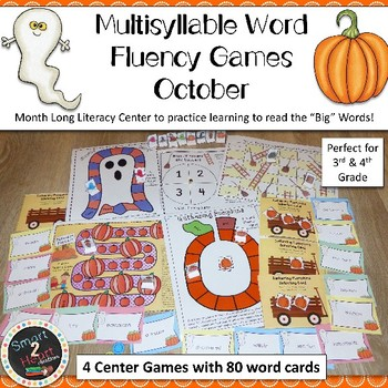 Multisyllable Word Fluency Literacy Center Game Pack - October