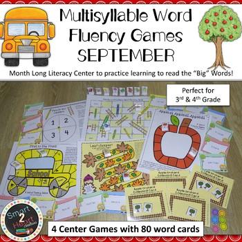 Multisyllable Word Fluency Literacy Center Game Pack - SEPTEMBER