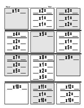 Multplication Facts Breakdown Help Sheet
