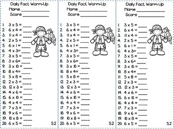 Multiplication Facts Warm-Up