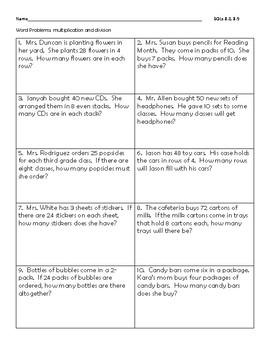 Multplication and Division Word Problems VA SOL 3.5