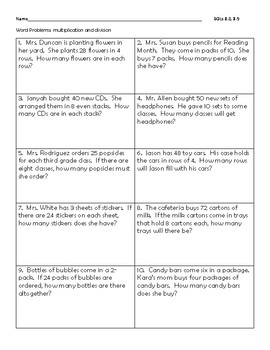 Multplication and Division Word Problems VA SOL 3.4