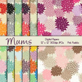 Mum Flowers Digital Printable Scrapbook Papers