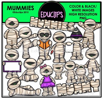 Mummies Clip Art Bundle {Educlips Clipart}