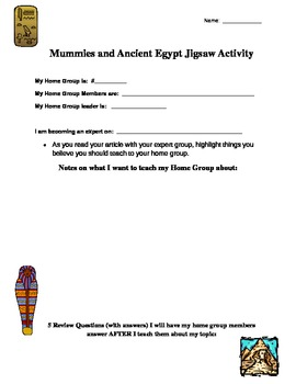 Mummies and Ancient Egypt Jigsaw Template by Deanna Shook | TpT