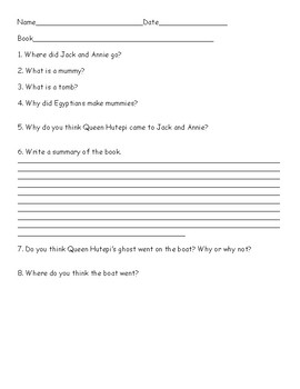 Mummies in the Morning (Magic Treehouse) Comprehension Questions
