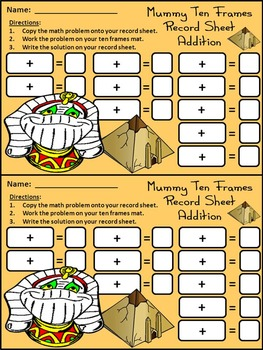 Mummy Activities: Mummy Halloween Ten Frames Math Activity Bundle - Color & B/W