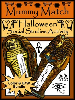 Mummy Activities: Mummy Match Vocabulary Game Activity