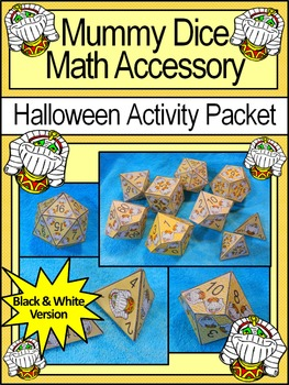 Mummy Activities: Mummy Dice Templates Halloween Math Center Activity