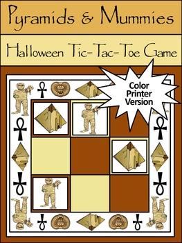Mummy Activities: Pyramids & Mummies Halloween Tic-Tac-Toe Game Activity - Color