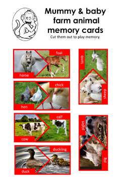 Mummy & Baby farm animal memory card