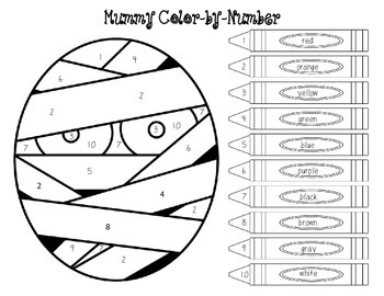 Mummy Color-by-Number FREEBIE