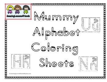 Mummy Alphabet Coloring Sheets