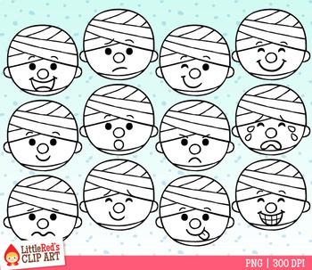 Mummy Emojis Faces Halloween Clip Art