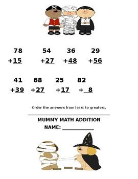 Mummy Math Packet for Second Grade