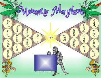 Mummy Mayhem Game {words containing ee,ea,ai,oa}