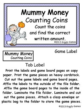 Mummy Money Counting Coins File Folder Game