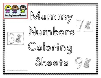 Mummy Number Coloring Sheets