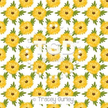 Mums - Yellow on White digital paper Printable Tracey Gurley Designs