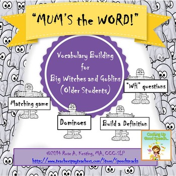 """Halloween Vocabulary Building for Older Students--""""Mum's the Word!"""""""