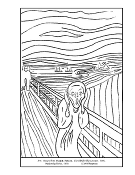 Munch. The Shriek  (Scream).  Coloring page and lesson plan ideas