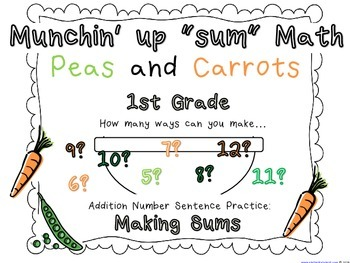 """Math stations: Munchin' Math - """"Ways to Make"""" Activity for finding Sums"""
