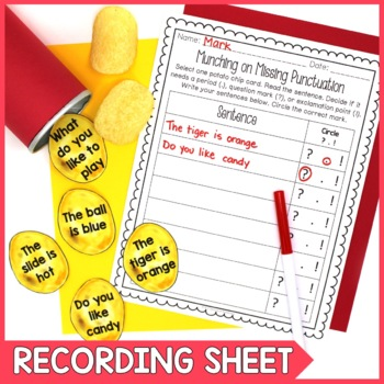 Types of Sentences Punctuation Literacy Center