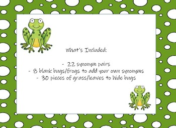 Munching Frogs!  A Synonym Matching Game