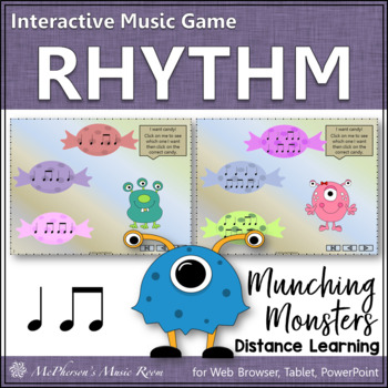 Munching Monsters (Eighth Notes/Quarter Notes) Interactive Rhythm Game
