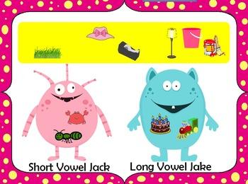 Munching Monsters Flipchart - Short Vowel vs. Long Vowel Sounds