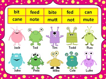 Munching Monsters Notebook - Short Vowel vs. Long Vowel Words