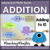Munching Monsters Sums 1 to 10 (Interactive Addition Game)