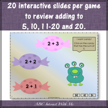 Munching Monsters Sums 1 to 20 Bundle (Interactive Addition Games)