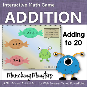 Munching Monsters Sums 1 to 20 (Interactive Addition Game)