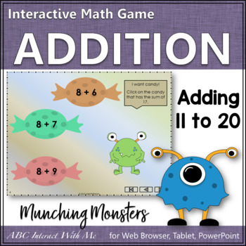 Munching Monsters: Sums 11 to 20 (Interactive Addition Game)