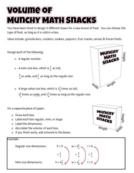 Munchy Math Snacks - Volume of Rectangular Prisms - Fractional Edge Lengths