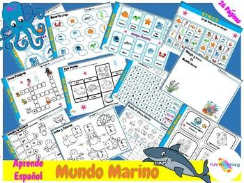 Mundo Marino Worksheets and Games Spanish