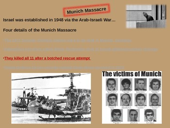 Munich Massacre (1972 Olympics) - engaging 23-slide PPT w video links & handouts