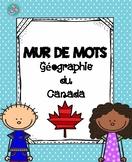 Mur de mot géographie du Canada