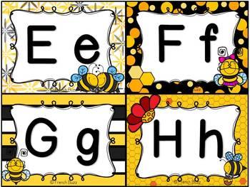 Mur de mots et lettres de l'alphabet - étiquettes - Thème: abeilles