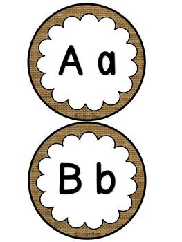 Mur de mots et lettres de l'alphabet - étiquettes - Thème: burlap (toile)