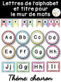 Mur de mots et lettres de l'alphabet - étiquettes - Thème: chevron