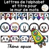 Mur de mots et lettres de l'alphabet - étiquettes - Thème: espace